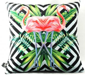 Casa Padrino Luxus Deko Kissen Florida Flamingos Mehrfarbig 45 x 45 cm - Feinster Samtstoff - Dekoratives Wohnzimmer Kissen