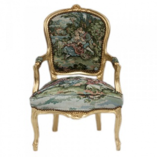 Casa Padrino Barock Salon Stuhl Gobelin / Gold - Vorschau 1