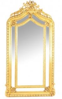 Riesiger Casa Padrino Luxus Barock Wandspiegel Gold 210 x 115 cm - Massiv und Schwer - Goldener Spiegel