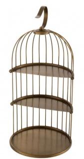 Casa Padrino Designer Etagere 3-Stufig mit Tragegriff Antik Messingfarben Ø 16, 5 x H. 35, 5 cm - Luxus Messing Etagere im Vogelkäfig Design - Vorschau 4