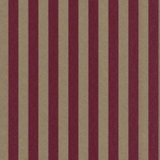 Casa Padrino Barock Textiltapete Rot / Gold 10, 05 x 0, 53 m - Barock Tapete mit Streifen
