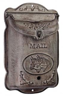 Casa Padrino Jugendstil Gusseisen Wandbriefkasten Antik Grau 24, 8 x H. 38, 6 cm - Jugendstil Deko Accessoires