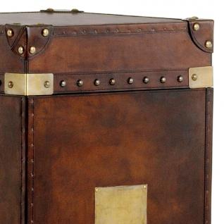 Casa Padrino Luxus Koffer Schrank Truhe Vintage Leder Braun - Art Deco Barock Jugendstil Kofferschrank Nachtschrank - Vorschau 3