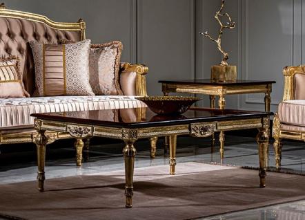 Casa Padrino Luxus Barock Couchtisch Schwarz / Gold - Handgefertigter Massivholz Wohnzimmertisch im Barockstil - Edle Barock Wohnzimmer Möbel