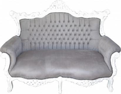 Casa Padrino Barock 2-er Sofa Master Grau / Weiß - Antik Stil Wohnzimmer Möbel