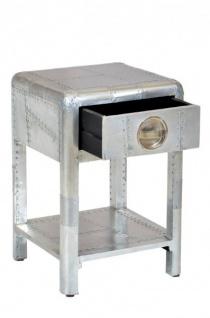 Casa Padrino Luxus Aluminium Nacht Schrank Kommode mit Schubladen - Vintage Flieger Möbel - Vorschau 2