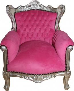 Casa Padrino Barock Kinder Sessel / Thron Rosa/Silber
