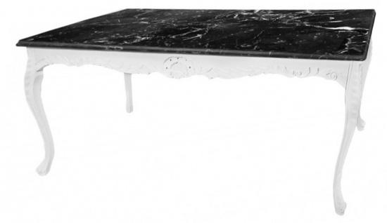 Casa Padrino Barock Esstisch Weiß mit schwarzer Marmorplatte - Tisch Marmor - Möbel