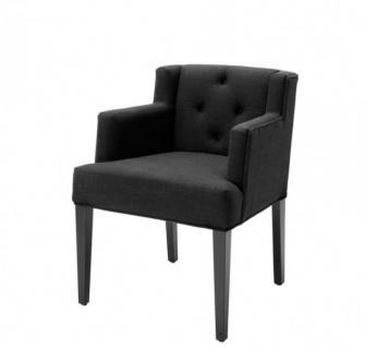 Casa Padrino Luxus Stuhl mit Armlehne Schwarz - Hotel Möbel