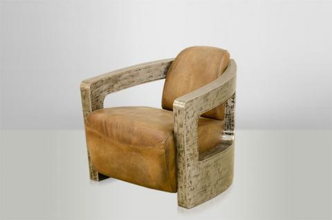 Art Deco Echt Leder Sessel Mars Echt Leder Beige / Vintage Silber - Club Sessel - Lounge Sessel