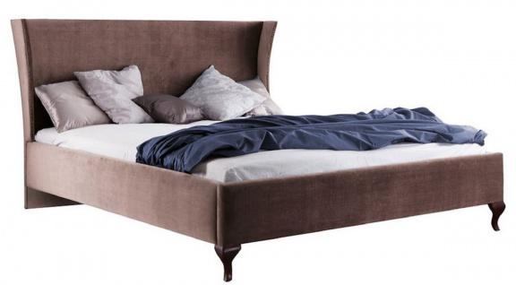 Casa Padrino Luxus Jugendstil Doppelbett Taupe / Dunkelbraun 196, 4 x 211 x H. 121 cm - Jugendstil Bett - Barock & Jugendstil Schlafzimmermöbel