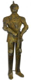Casa Padrino Eisen Ritterrüstung mit Schwert Antik Braun / Silber H. 142 cm - Mittelalter Deko