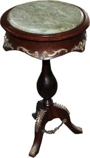 Casa Padrino Barock Beistelltisch Modell Mahagoni Dunkelbraun mit Marmorplatte 68 x 41 cm