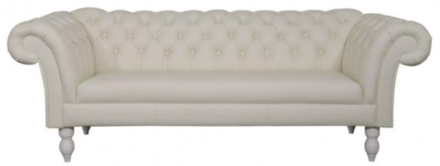 Casa Padrino Luxus Echtleder 3er Sofa Weiß 210 x 90 x H. 80 cm - Wohnzimmermöbel im Chesterfield Design