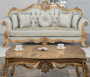 Casa Padrino Luxus Barock Couchtisch Antik Gold 118 x 87 x H. 50 cm - Massivholz Wohnzimmertisch - Möbel im Barockstil
