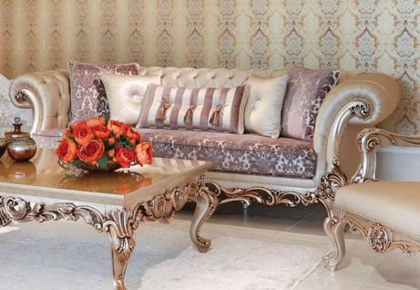 Casa Padrino Luxus Barock Sofa Lila / Creme / Beige / Kupferfarben 260 x 100 x H. 90 cm - Prunkvolles Wohnzimmer Sofa mit edlem Muster - Barock Wohnzimmer Möbel