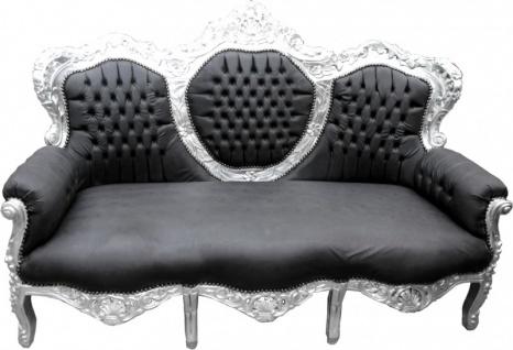 Casa Padrino Barock Sofa King Schwarz Lederoptik / Silber - Wohnzimmer Möbel Couch Lounge