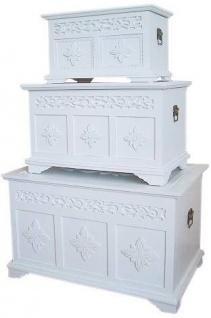 Casa Padrino Landhausstil Truhen 3er Set Weiß - Handgefertigte Holztruhen mit fein geschnitzen Rankenmotiven