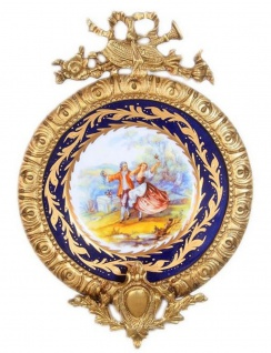 Casa Padrino Barock Keramik Wandbild mit verziertem Rahmen Mehrfarbig / Dunkelblau / Gold 28 cm - Barock Wanddeko