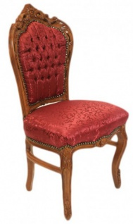 Casa Padrino Barock Esszimmer Stuhl Bordeaux Muster / Braun - Antik Möbel - Vorschau 2