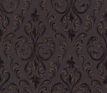 Casa Padrino Barock Textiltapete Schwarz / Dunkelbraun 10, 05 x 0, 53 m - Hochwertige Wohnzimmer Tapete