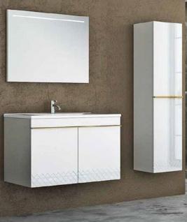 Casa Padrino Luxus Badezimmer Set Weiß / Gold - 1 Waschtisch und 1 Waschbecken und 1 LED Wandspiegel und 1 Hängeschrank - Luxus Kollektion