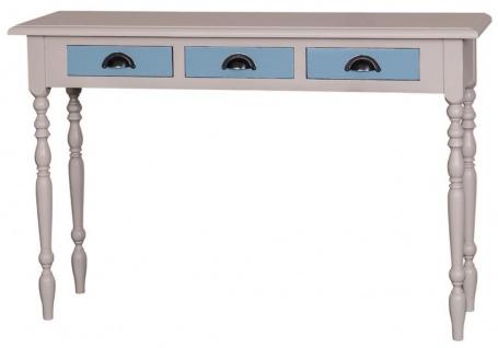 Casa Padrino Landhausstil Konsole Grau / Blau 120 x 35 x H. 79 cm - Möbel im Landhausstil