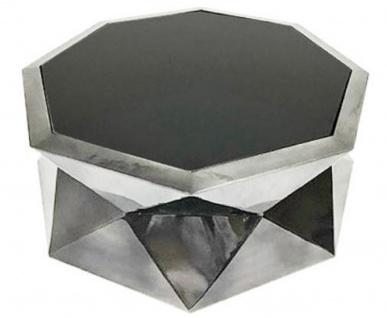 Casa Padrino Luxus Wohnzimmertisch Silber / Schwarz 101 x 101 x H. 35 cm - Designer Couchtisch mit Glasplatte