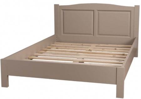 Casa Padrino Landhausstil Bett Taupe 160 x 200 cm - Massivholz Doppelbett - Landhausstil Schlafzimmermöbel