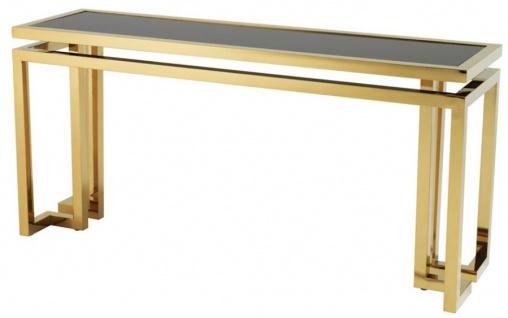 Casa Padrino Designer Edelstahl Konsole gold mit schwarzem Glas - Luxus Konsolentisch