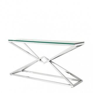 Casa Padrino Luxus Konsole Edelstahl Nickel Finish 150 x 40 x H 74 cm - Konsolen Tisch Möbel