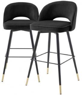 Casa Padrino Luxus Barstuhl Set Schwarz / Messingfarben 51 x 52 x H. 103 cm - Barstühle mit drehbarer Sitzfläche und edlem Samtsoff - Luxus Bar Möbel