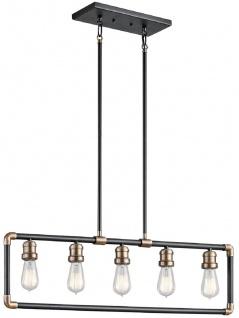 Casa Padrino Luxus Industrial Design Kronleuchter Schwarz / Messingfarben 90, 2 x 5, 1 x H. 26 cm - Eleganter Industrie Stil Kronleuchter - Industrie Stil Leuchten
