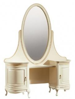 Casa Padrino Luxus Barock Schminktisch Creme / Gold 134 x 45 x H. 180 cm - Prunkvoller Friesiertisch mit ovalem Spiegel - Luxus Qualität