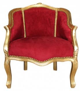 Casa Padrino Antik Stil Damen Salon Sessel Bordeaux / Gold 63 x 53 x H. 80 cm - Barock Möbel