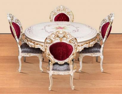 Casa Padrino Barock Esszimmer Set Bordeauxrot / Grau / Weiß / Gold - 1 runder Esstisch & 4 Esszimmerstühle - Prunkvolle Esszimmer Möbel im Barockstil