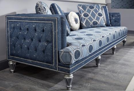 Casa Padrino Luxus Barock Wohnzimmer Set Dunkelblau / Hellblau / Silber - Sofa & 2 Sessel & Couchtisch - Barock Wohnzimmermöbel - Vorschau 3