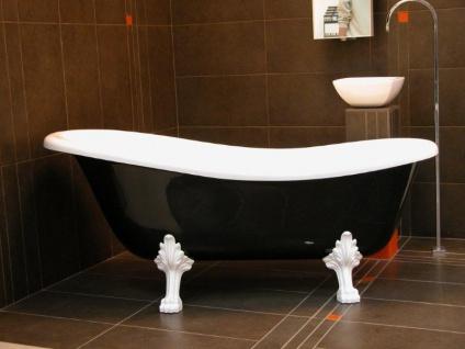Freistehende Luxus Badewanne Jugendstil Roma Schwarz/Weiß/Weiß 1470mm - Barock Antik Badezimmer - Vorschau 4