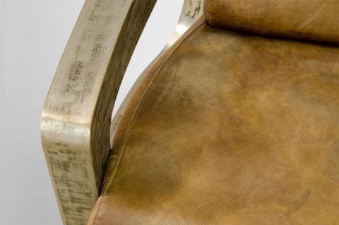 Art Deco Echt Leder Sessel Mars Echt Leder Beige / Vintage Silber - Club Sessel - Lounge Sessel - Vorschau 3
