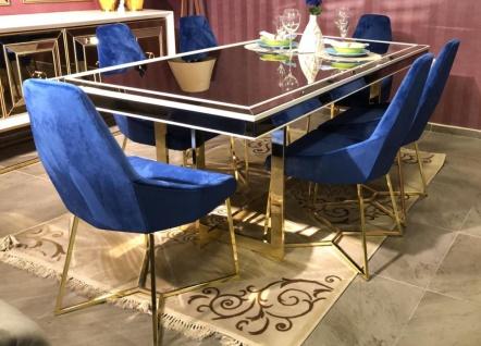 Casa Padrino Luxus Esszimmer Set Blau / Weiß / Gold - 1 Esszimmertisch & 6 Esszimmerstühle - Luxus Esszimmer Möbel