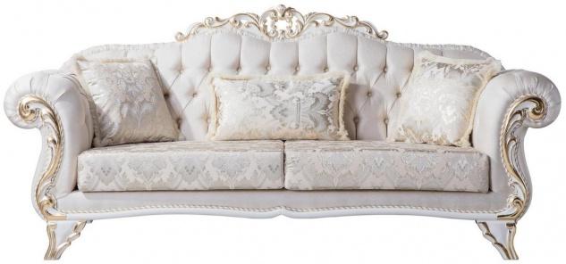 Casa Padrino Luxus Barock Wohnzimmer Sofa mit dekorativen Kissen Creme / Weiß / Gold 220 x 90 x H. 101 cm - Barock Möbel - Edel & Prunkvoll
