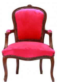 Barock Salon Stuhl Pink / Braun