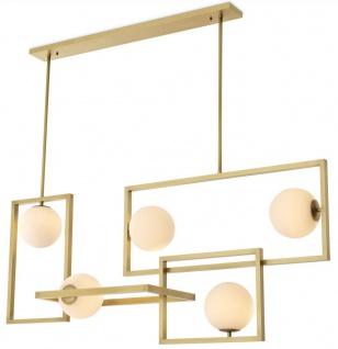 Casa Padrino Luxus Art Deco Kronleuchter Antik Messingfarben / Weiß Ø 160 x 38 x H. 70, 5 cm - Wohnzimmer Kronleuchter - Hotel Kronleuchter - Luxus Qualität