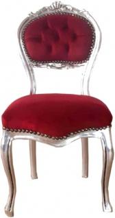 Casa Padrino Barock Damen Stuhl Bordeauxrot / Silber 40 x 44 x H. 83 cm - Handgefertigter Schminktisch Stuhl mit edlem Samtstoff - Möbel im Barockstil