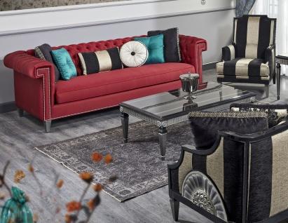 Casa Padrino Luxus Barock Wohnzimmer Set Rot / Schwarz / Gold / Silber - 2 Sofas & 2 Sessel & 1 Couchtisch & 1 Beistelltisch - Barock Wohnzimmermöbel - Vorschau 2