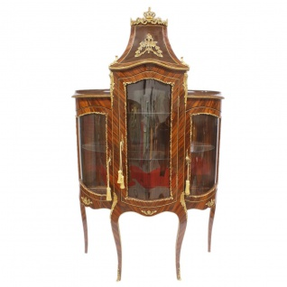 Casa Padrino Barock Glas Vitrine Vitrinenschrank - Barock Möbel - Vitrinenschrank 125 x 50 x H 198 cm - Wohnzimmerschrank Schrank Mahagoni / Gold