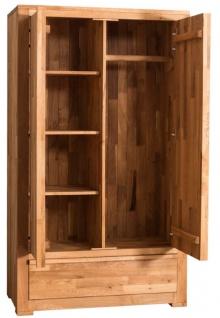 Casa Padrino Landhausstil Kleiderschrank Naturfarben 110 x 55 x H. 190 cm - Eichenholz Schlafzimmerschrank mit 2 Türen und Schublade - Vorschau 4