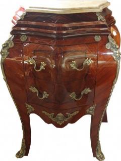 Casa Padrino Barock Kommode Mahagoni Braun mit cremefarbener Marmorplatte - Kommode - Vorschau 1