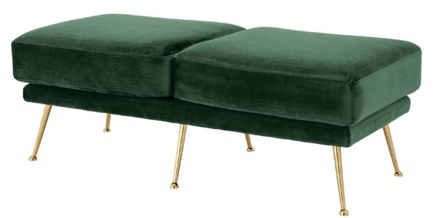 Casa Padrino Luxus Samt Sitzbank Dunkelgrün / Messingfarben 125 x 58 x H. 45 cm - Gepolsterte Samt Bank - Luxus Möbel