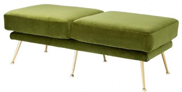Casa Padrino Luxus Sitzbank Grün / Messingfarben 125 x 58 x H. 45 cm - Luxus Möbel